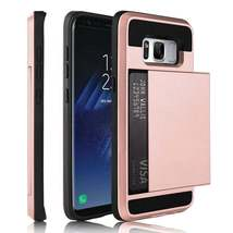 Rose Gold Card Case for Samsung Galaxy S8 - Rugged Heavy Duty Credit Holder USA image 2