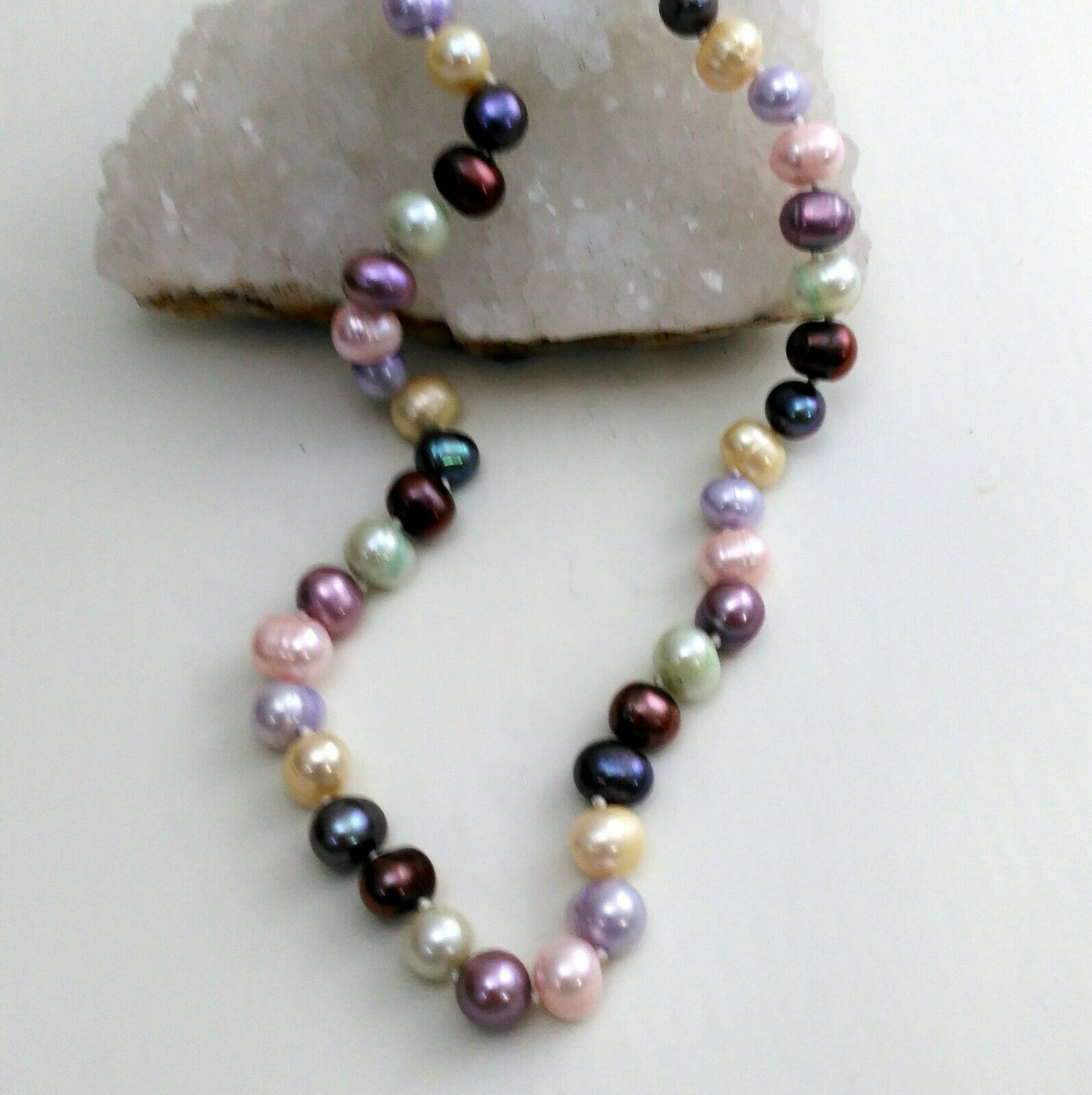 Primary image for Palm Beach Pearl Necklace Hand Knotted, Multi-Colored 10-12 mm pearls, New 18""