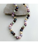"Palm Beach Pearl Necklace Hand Knotted, Multi-Colored 10-12 mm pearls, New 18"" - $64.95"