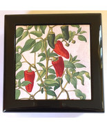 Jewelry Box Red & Green Peppers Tile High Gloss Black velvet lined  6 x ... - $9.66