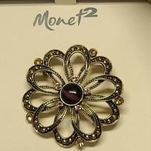 Monet 2 Brooch Pin Round Purplr Tigers Eye And Rhinestones Gold Tone - $15.48