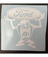Taz Tasmanian Devil Ford White Vinyl Car Decal Bumper Sticker  - $7.70