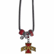"iowa state cyclones licensed college euro bead necklace with 18"" chain - $22.55"