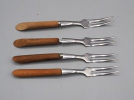Vintage Lot of 4 Wood Handle Cheese Cocktail Fork made in Japan - $13.85