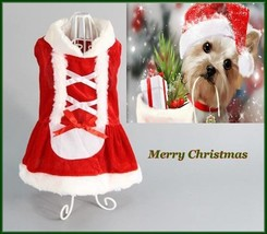 NEW PET DOG CAT Red Velour White Faux Fur Christmas Holiday Dress  XS S ... - $11.75+