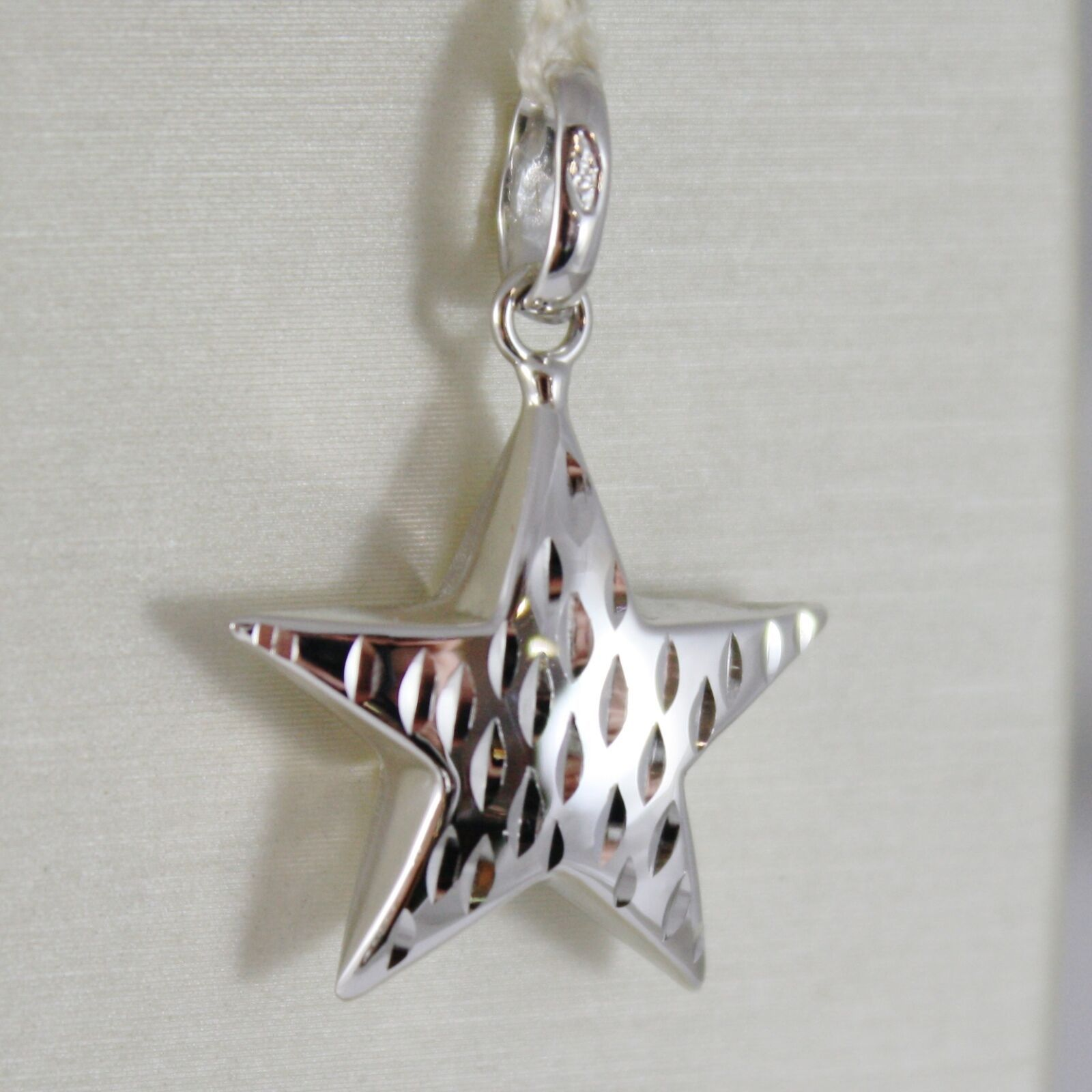 18K WHITE GOLD ROUNDED STAR PENDANT CHARM 26 MM WORKED & SMOOTH, MADE IN ITALY