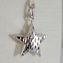 18K WHITE GOLD ROUNDED STAR PENDANT CHARM 26 MM WORKED & SMOOTH, MADE IN ITALY image 1