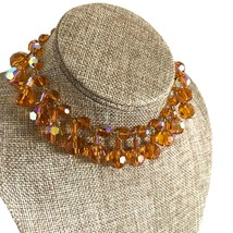 50s Vintage Amber Faceted Crystal Drops & Goldtone Aurora Borealis Bib Choker Ne - $59.00