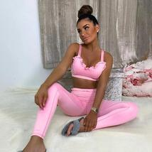 Pink Ruffled Fitness Tracksuit Sleeveless Crop Top and Jogging Pant image 1