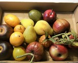Sugar Pears Apple w Leaves 16 Pieces Realistic Fake Fruit Theatre Prop Decor