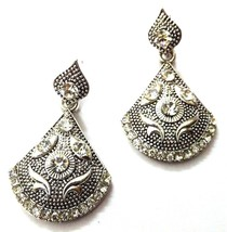 Silver Oxidized Earrings Jhumka Ethnic Imitation Jewelry - Dangle Drop L... - $4.72