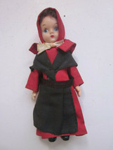 "VINTAGE HARD PLASTIC DOLL AMISH RED & BLACK DRESS PAINTED EYES 5"" TALL - $9.99"
