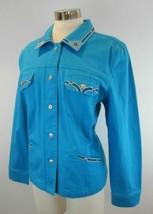 CHRISTINE ALEXANDER Bright Blue Swarovski Stretch Denim Jean Jacket M - $44.55