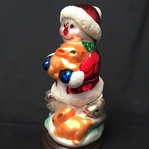 "Thomas Pacconi Classics Blown Glass Snowman with Bunnies Figurine 6"" 199... - $38.60"