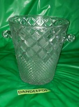 Antique Diamond Cut Textured Pattern Heavy Crystal Ice Bucket With Handl... - $113.84