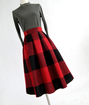 RED PLAID Women Midi Skirt Autumn Classic Plus Size Flannel Long Plaid Skirts image 2