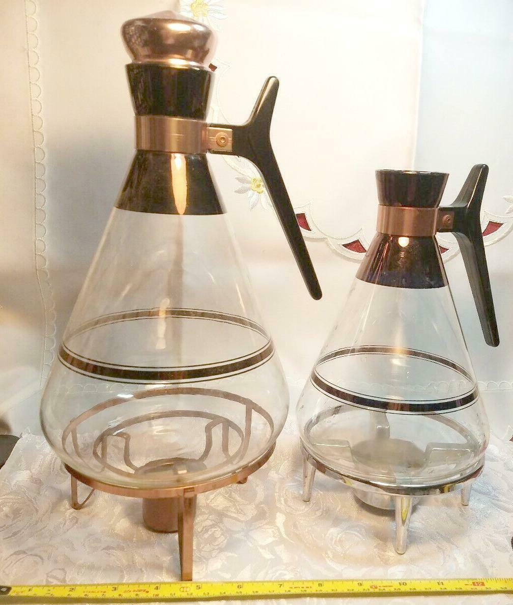 2 Vintage Inland Coffee Warmers, Blown Glass Carafes On Stand 1 Missing Cap