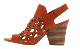 Vince Camuto Cutout Nubuck Heeled Sandals- Deverly Candied Yam 7M NEW A3... - $91.06