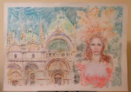 Painting Modern Pop Art Years 1980's Portrait Feminine Venice St Marco P... - $192.89