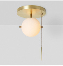 American Country Style Milky White Glass Flush Mount Brass Finish Ceiling Lamp - $221.16