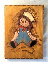 Hand Carved Vintage Wood Wall Plaque - Raggedy Andy - Signed WM - $21.89
