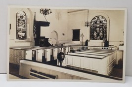 RPPC Interior Church View Real Photo Stain Glass Painted Pews Lovely Pos... - $8.86