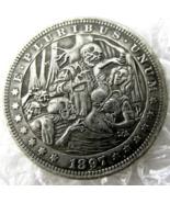 US Hobo Nickel 1897 Morgan Dollar skull zombie skeleton Creative Casted ... - $9.49
