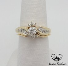 Diamond Round Cut 18k Yellow Gold Plated Pure 925 Silver Bridal Wedding Ring Set - $92.89