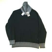 NEW Daniel Cremieux Sweater Mens L Black Gray Shawl Collar Warwick Cotton - $21.49