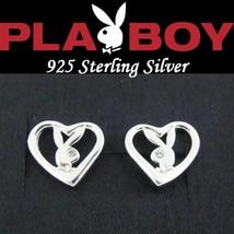 Sterling Silver Playboy Earrings Open Heart Studs Bunny Logo Box License... - $29.69