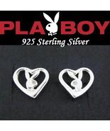 Sterling Silver Playboy Earrings Open Heart Studs Bunny Logo Box License... - $22.69