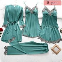 5 Pieces Women Nighty Sleepwear Lace Faux Silk Bathrobe Homewear Spring ... - $62.99