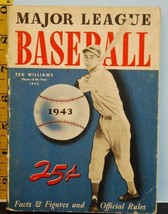 1943 Major League Baseball Facts Figures Ted Williams Cover w/Mel Ott WW... - $18.76