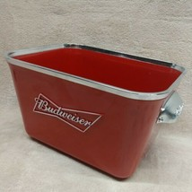 (1) Budweiser 6-pack Beer Ice Bucket Red Plastic Advertising Container B... - $14.24