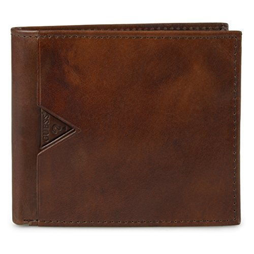 Guess Men's Leather Billfold Wallet With Zippered Cash Pocket, tan, One Size