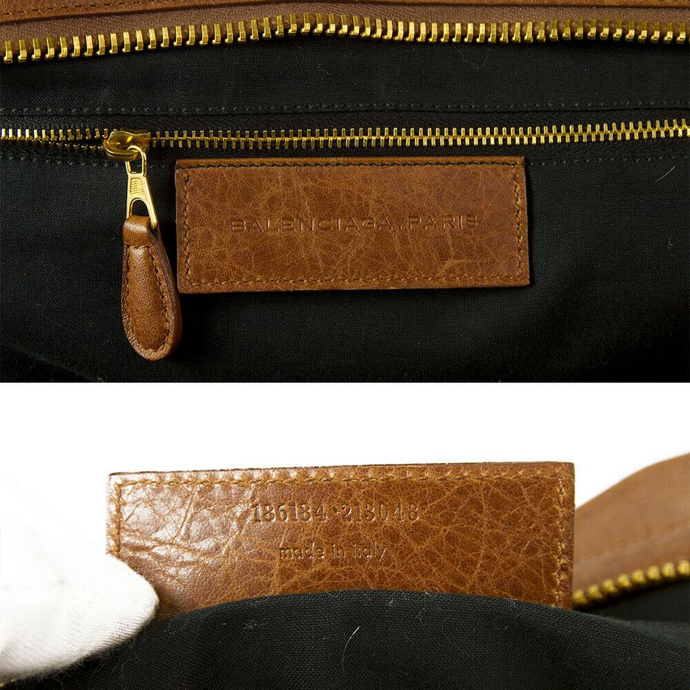 BALENCIAGA Tan Brown Leather Giant 21 Gold Weekender Bag retailed at $2,385  image 6