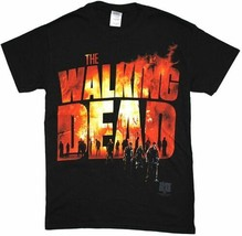 The Walking Dead TV Series Two Fire Flames Logo with Walkers T-Shirt NEW... - $17.41+