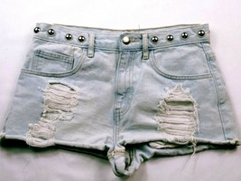 Forever 21 Women's Booty Jean Shorts Size 27 Solid Blue Studded Distressed - $19.80