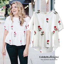 Vintage Floral Plus Size Embroidered Babydoll Peplum Top Maternity Cloth... - $19.99