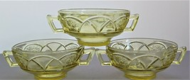 3 Vintage Rosemary Dutch Rose Amber Double Handle Soup Bowl Federal Glass - $9.49