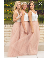 Blush High Waisted Maxi Tulle Skirt Full Length Blush Bridesmaid Skirt NWT