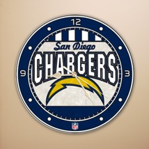 "SAN DIEGO CHARGERS NFL FOOTBALL SPORTS LOGO 12"" ART-GLASS CLOCK - €24,98 EUR"