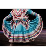 Girls Jalisco Dress With Super Wide Skirt Flow For Folklorico Dance Hand... - $62.68+