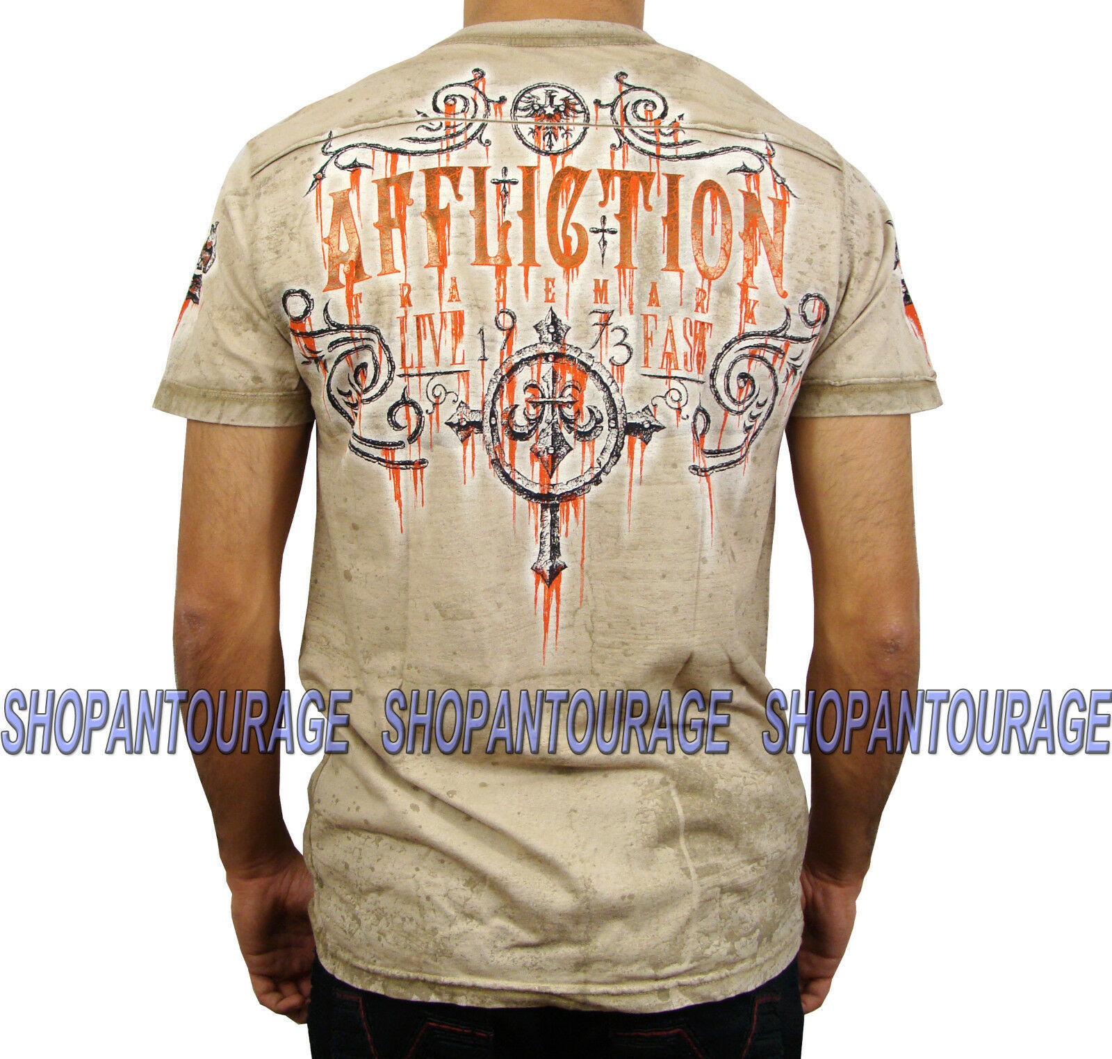 AFFLICTION Condemned A10292 New Men`s T-Shirt Tobacco