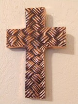 "Woven Look Ornamental Cross Metal Wall Decor Copper/Bronze 7"" x 4.75"" India - $24.75"