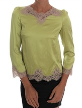 Dolce & Gabbana Green Silk Stretch Blouse Top - $437.71