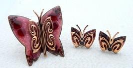 VTG MATISSE RENOIR Signed Red Pink Enamel Copper Butterfly Brooch Earrings - $247.50