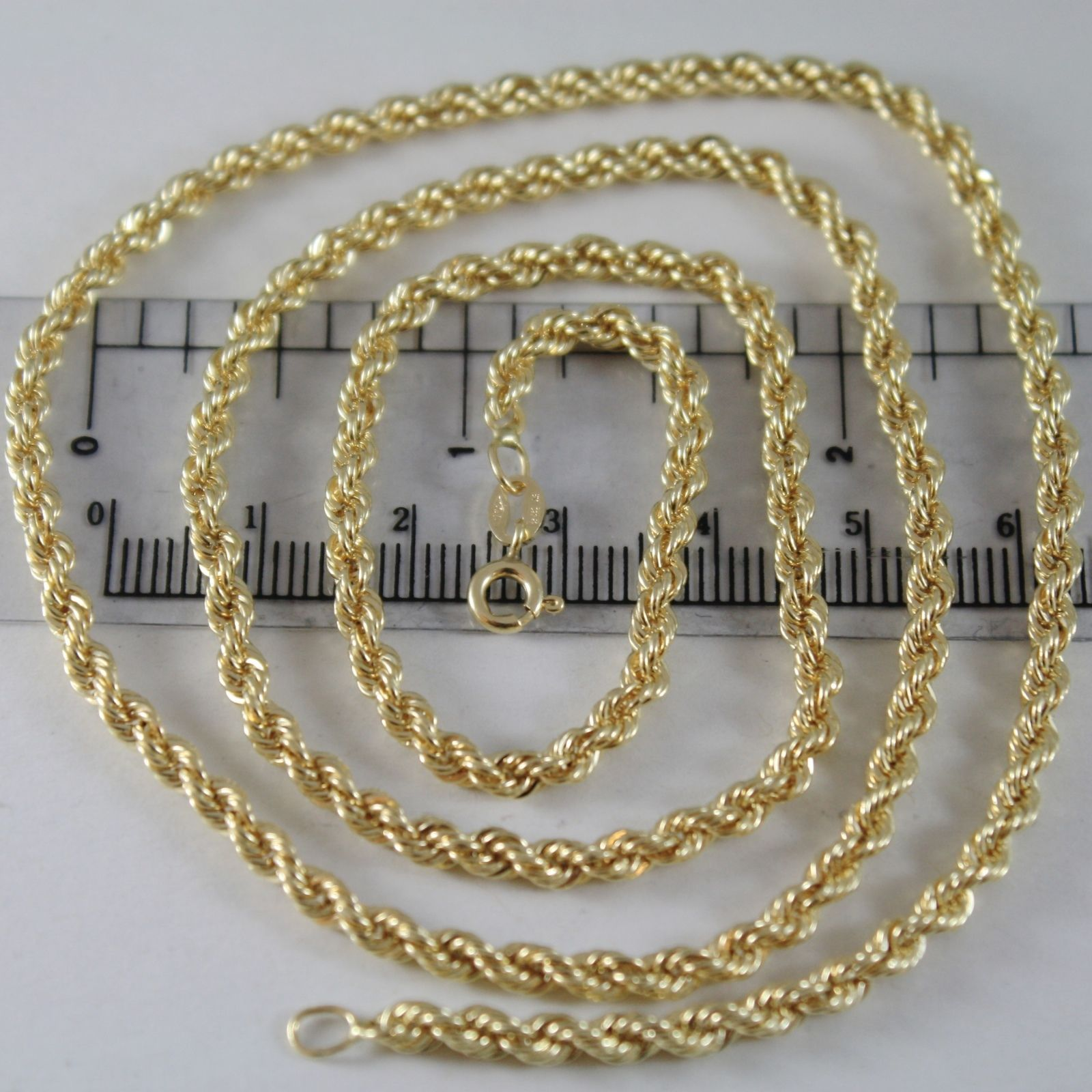 18K YELLOW GOLD CHAIN NECKLACE 3.5 MM BRAID BIG ROPE LINK 17.70 MADE IN ITALY