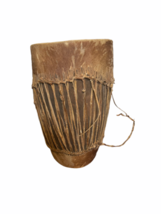 "Vintage HANDMADE Large Native American Cow Hide Wood Drum Almost 19"" High image 6"