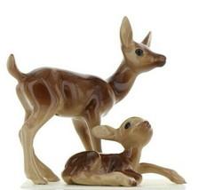Hagen Renaker Miniature Deer Mamma & Baby Fawn Lying Ceramic Figurine Set